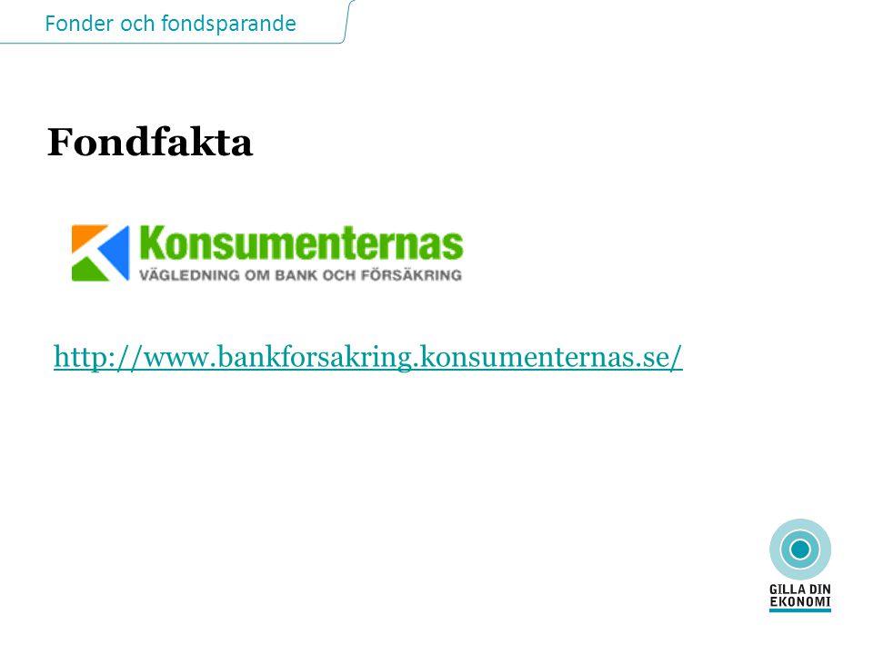Fonder och fondsparande Fondfakta http://www.bankforsakring.konsumenternas.se/