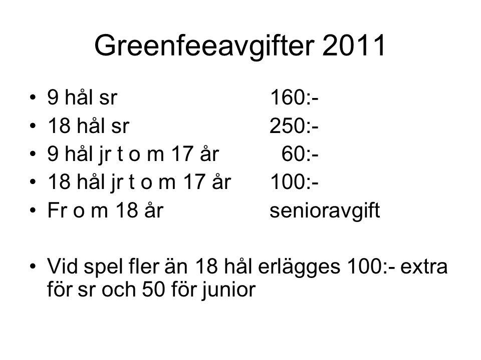 Greenfeeavgifter 2011 9 hål sr160:- 18 hål sr250:- 9 hål jr t o m 17 år 60:- 18 hål jr t o m 17 år100:- Fr o m 18 år senioravgift Vid spel fler än 18 hål erlägges 100:- extra för sr och 50 för junior