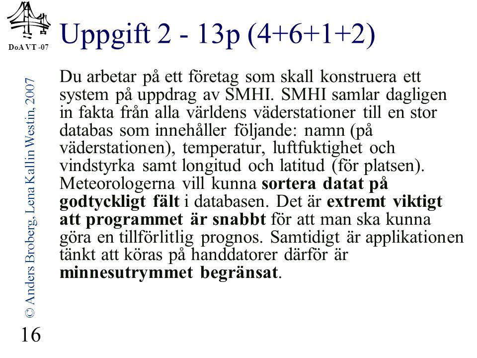 DoA VT -07 © Anders Broberg, Lena Kallin Westin, 2007 16 Uppgift 2 - 13p (4+6+1+2) Du arbetar på ett företag som skall konstruera ett system på uppdra