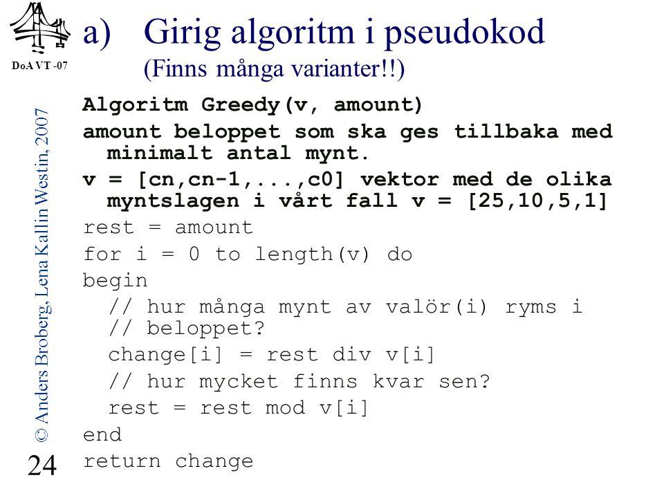 DoA VT -07 © Anders Broberg, Lena Kallin Westin, 2007 24 a)Girig algoritm i pseudokod (Finns många varianter!!) Algoritm Greedy(v, amount) amount belo
