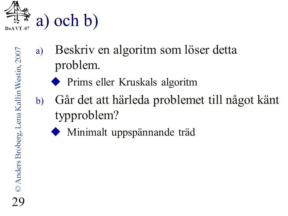DoA VT -07 © Anders Broberg, Lena Kallin Westin, 2007 29 a) och b) a) Beskriv en algoritm som löser detta problem.  Prims eller Kruskals algoritm b)