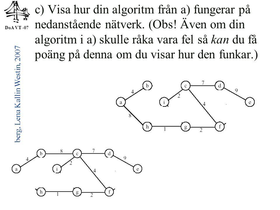 DoA VT -07 © Anders Broberg, Lena Kallin Westin, 2007 30 c) Visa hur din algoritm från a) fungerar på nedanstående nätverk. (Obs! Även om din algoritm