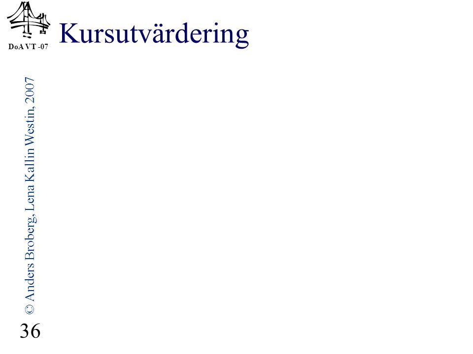 DoA VT -07 © Anders Broberg, Lena Kallin Westin, 2007 36 Kursutvärdering