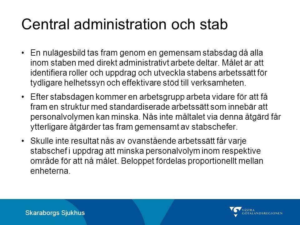 Skaraborgs Sjukhus Central administration och stab En nulägesbild tas fram genom en gemensam stabsdag då alla inom staben med direkt administrativt arbete deltar.