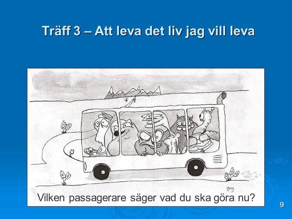 Vilken passagerare säger vad du ska göra nu? Träff 3 – Att leva det liv jag vill leva 9