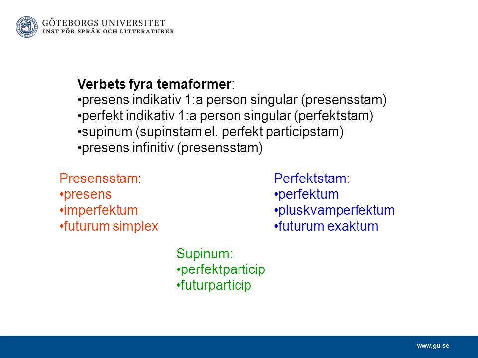 www.gu.se Verbets fyra temaformer: presens indikativ 1:a person singular (presensstam) perfekt indikativ 1:a person singular (perfektstam) supinum (su