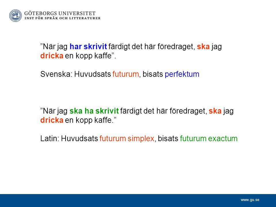 """www.gu.se """"När jag har skrivit färdigt det här föredraget, ska jag dricka en kopp kaffe"""". Svenska: Huvudsats futurum, bisats perfektum """"När jag ska ha"""