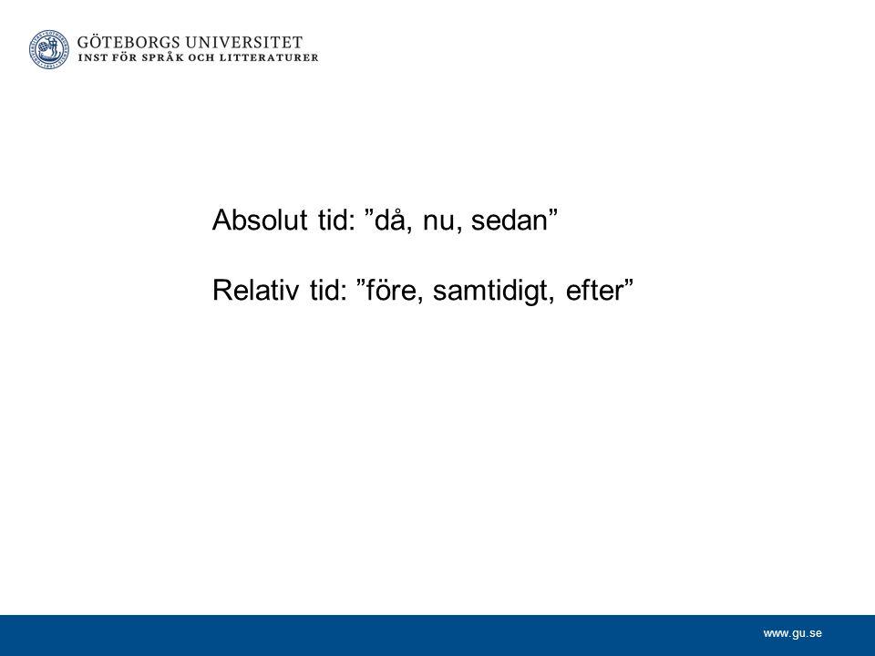 """www.gu.se Absolut tid: """"då, nu, sedan"""" Relativ tid: """"före, samtidigt, efter"""""""