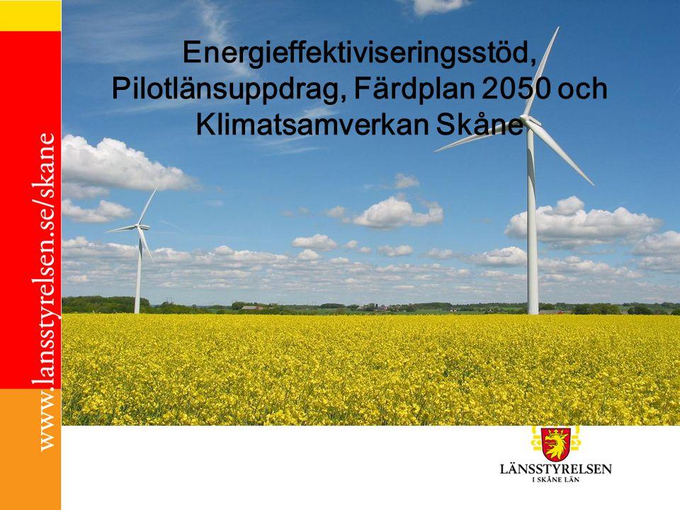 Energieffektiviseringsstöd Del av nationellt 5-årigt program för energieffektivisering 2010-2014, ca 250 000:- /kommun Den offentliga sektorn ska vara en förebild inom energieffektivisering (EU-direktiv 2006) Stärka det lokala och regionala energiarbetet för att bidra till nationella och EU-mål Förordning 2009:1533, Föreskrift 2010:1