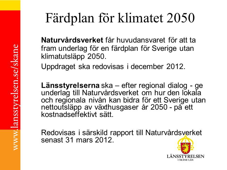 Färdplan för klimatet 2050 Naturvårdsverket får huvudansvaret för att ta fram underlag för en färdplan för Sverige utan klimatutsläpp 2050.
