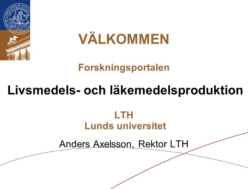 VÄLKOMMEN Forskningsportalen Livsmedels- och läkemedelsproduktion LTH Lunds universitet Anders Axelsson, Rektor LTH
