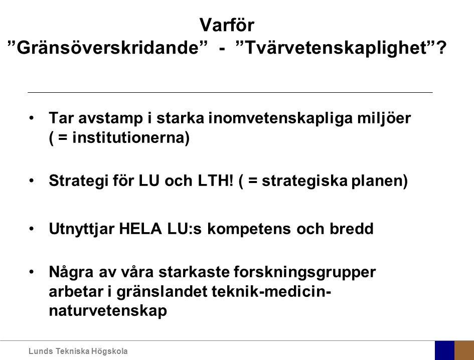 """Lunds Tekniska Högskola Varför """"Gränsöverskridande"""" - """"Tvärvetenskaplighet""""? Tar avstamp i starka inomvetenskapliga miljöer ( = institutionerna) Strat"""