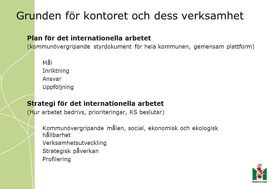 Grunden för kontoret och dess verksamhet Plan för det internationella arbetet (kommunövergripande styrdokument för hela kommunen, gemensam plattform)