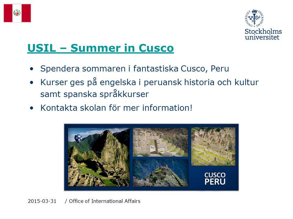 USIL – Summer in Cusco Spendera sommaren i fantastiska Cusco, Peru Kurser ges på engelska i peruansk historia och kultur samt spanska språkkurser Kontakta skolan för mer information.