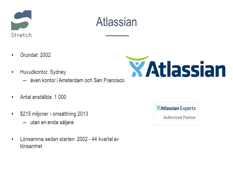 Grundat: 2002 Huvudkontor: Sydney – även kontor i Amsterdam och San Francisco Antal anställda: 1 000 $215 miljoner i omsättning 2013 – utan en enda säljare Lönsamma sedan starten 2002 - 44 kvartal av lönsamhet Atlassian
