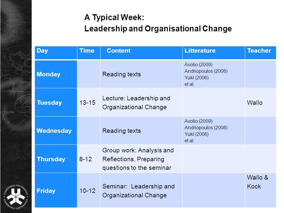 DayTimeContentLitteratureTeacher MondayReading texts Avolio (2009) Andriopoulos (2008) Yukl (2006) et.al. Tuesday13-15 Lecture: Leadership and Organiz