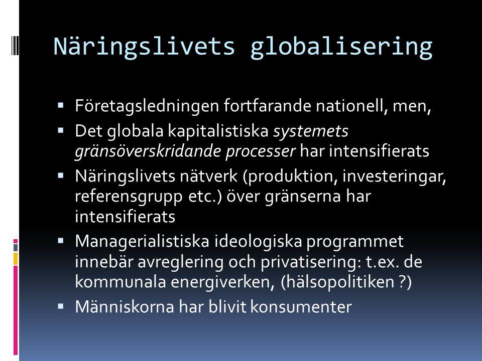 Näringslivets globalisering  Företagsledningen fortfarande nationell, men,  Det globala kapitalistiska systemets gränsöverskridande processer har intensifierats  Näringslivets nätverk (produktion, investeringar, referensgrupp etc.) över gränserna har intensifierats  Managerialistiska ideologiska programmet innebär avreglering och privatisering: t.ex.