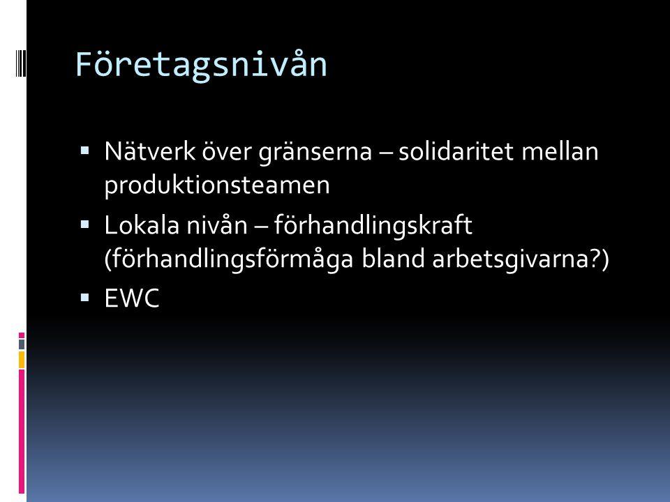 Företagsnivån  Nätverk över gränserna – solidaritet mellan produktionsteamen  Lokala nivån – förhandlingskraft (förhandlingsförmåga bland arbetsgivarna )  EWC