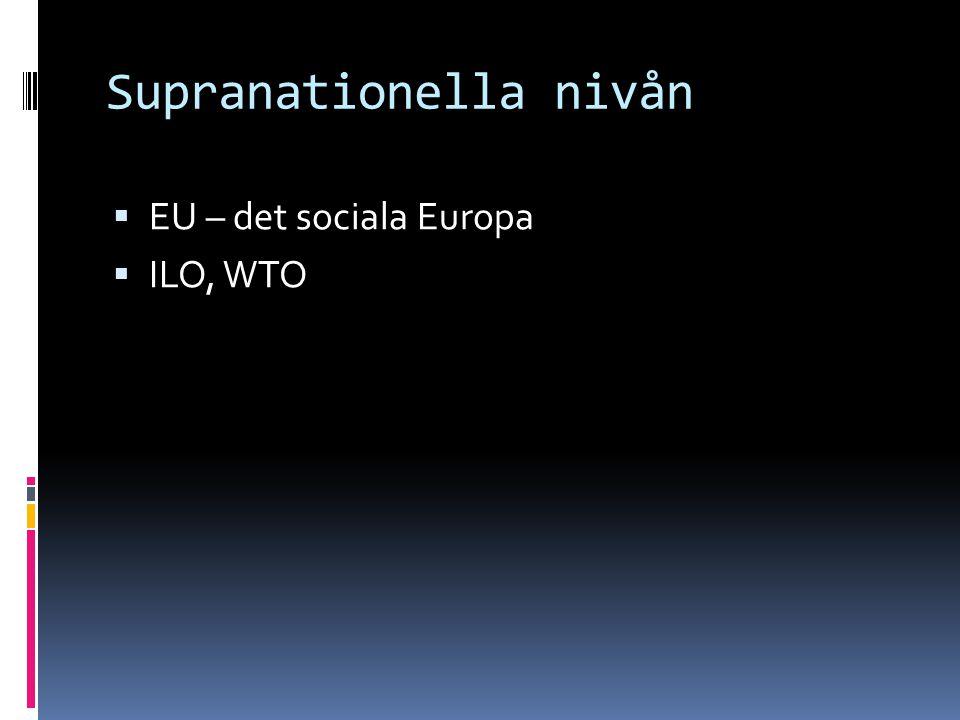Supranationella nivån  EU – det sociala Europa  ILO, WTO