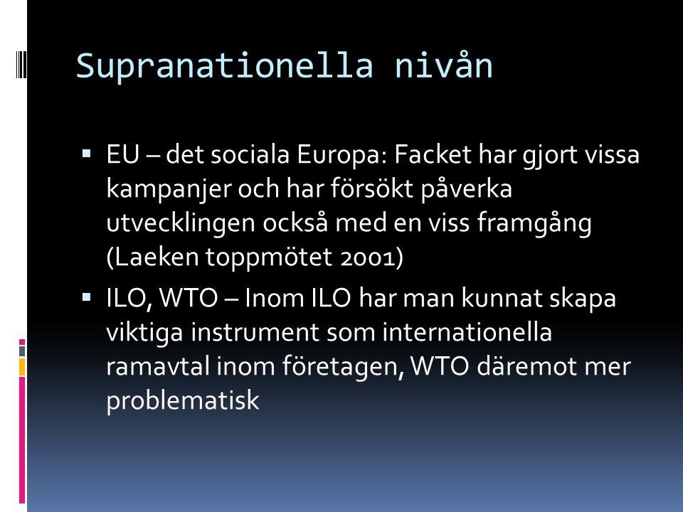 Supranationella nivån  EU – det sociala Europa: Facket har gjort vissa kampanjer och har försökt påverka utvecklingen också med en viss framgång (Laeken toppmötet 2001)  ILO, WTO – Inom ILO har man kunnat skapa viktiga instrument som internationella ramavtal inom företagen, WTO däremot mer problematisk
