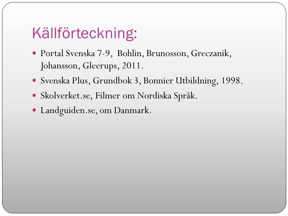 Källförteckning: Portal Svenska 7-9, Bohlin, Brunosson, Greczanik, Johansson, Gleerups, 2011. Svenska Plus, Grundbok 3, Bonnier Utbildning, 1998. Skol