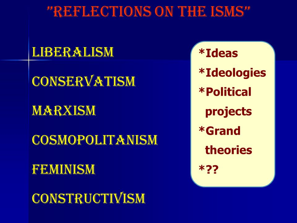 Reflections on the ISMS Liberalism Conservatism Marxism Cosmopolitanism feminism Constructivism ……… *Ideas *Ideologies *Political projects *Grand theories *??