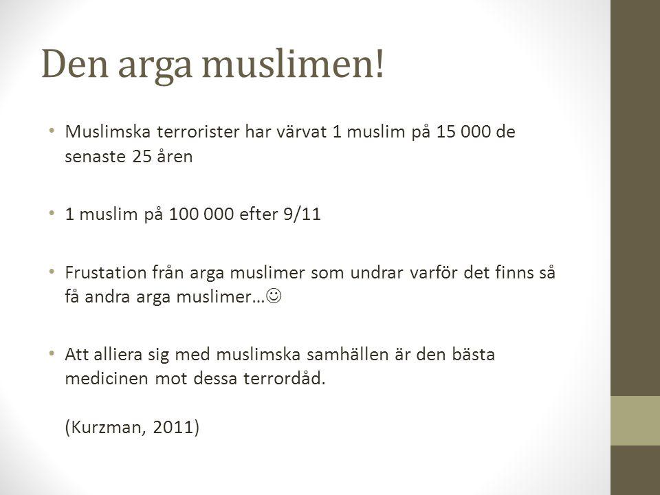 Den arga muslimen! Muslimska terrorister har värvat 1 muslim på 15 000 de senaste 25 åren 1 muslim på 100 000 efter 9/11 Frustation från arga muslimer