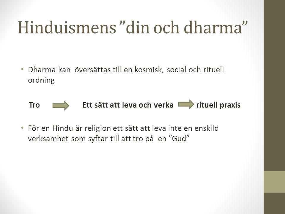 """Hinduismens """"din och dharma"""" Dharma kan översättas till en kosmisk, social och rituell ordning TroEtt sätt att leva och verka rituell praxis För en Hi"""