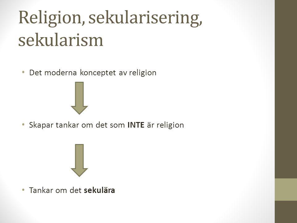 Religion, sekularisering, sekularism Det moderna konceptet av religion Skapar tankar om det som INTE är religion Tankar om det sekulära