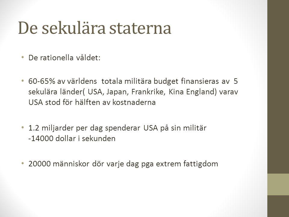 De sekulära staterna De rationella våldet: 60-65% av världens totala militära budget finansieras av 5 sekulära länder( USA, Japan, Frankrike, Kina Eng