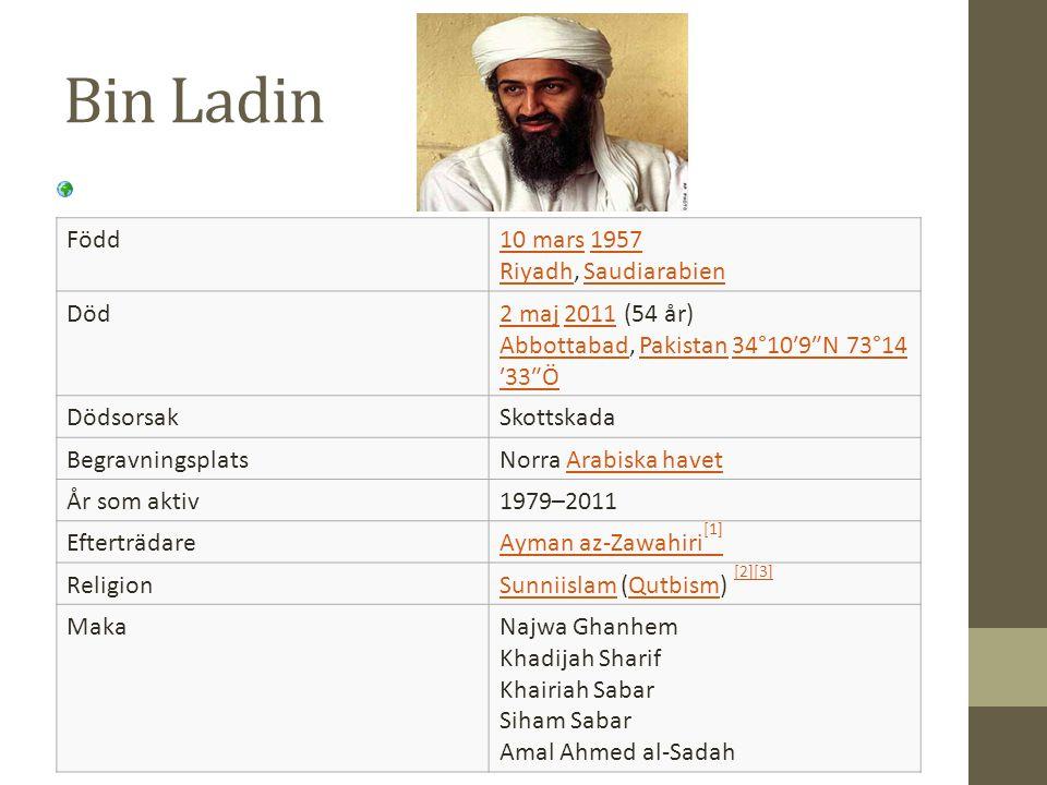Bin Ladin Född10 mars10 mars 1957 Riyadh, Saudiarabien1957 RiyadhSaudiarabien Död2 maj2 maj 2011 (54 år) Abbottabad, Pakistan 34°10′9″N 73°14 ′33″Ö201