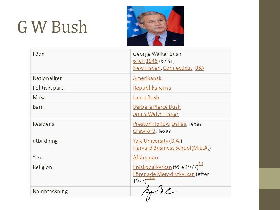 G W Bush FöddGeorge Walker Bush 6 juli 1946 (67 år) New Haven, Connecticut, USA 6 juli1946 New HavenConnecticutUSA NationalitetAmerikansk Politiskt pa