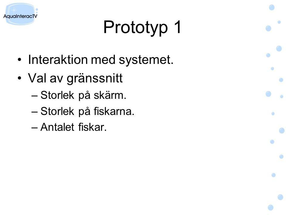 Prototyp 1 Interaktion med systemet. Val av gränssnitt –Storlek på skärm.