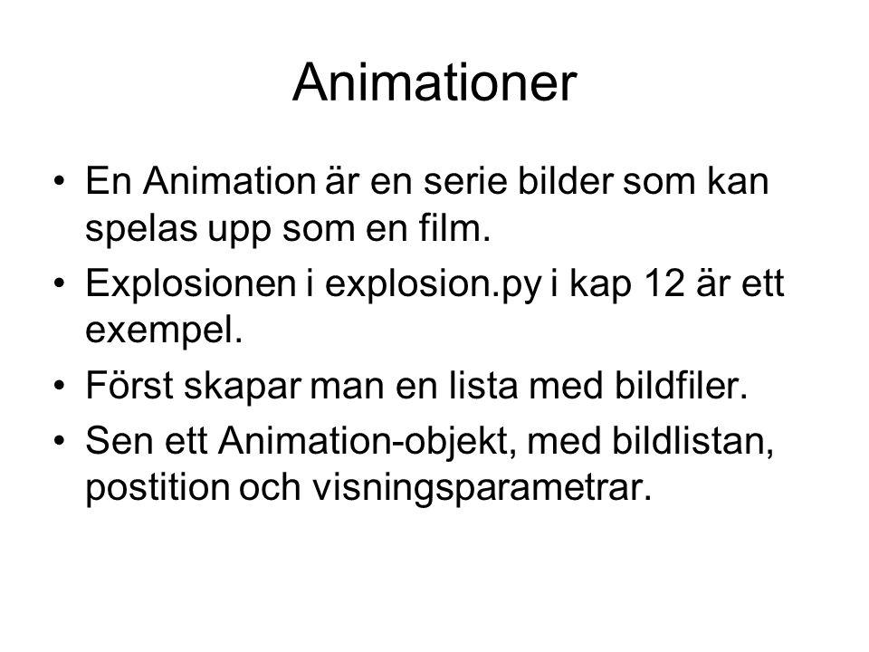 Animationer En Animation är en serie bilder som kan spelas upp som en film. Explosionen i explosion.py i kap 12 är ett exempel. Först skapar man en li