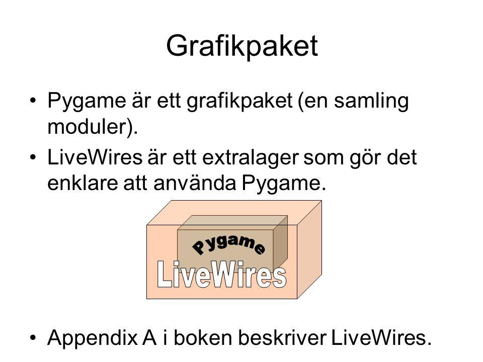 Grafikpaket Pygame är ett grafikpaket (en samling moduler). LiveWires är ett extralager som gör det enklare att använda Pygame. Appendix A i boken bes