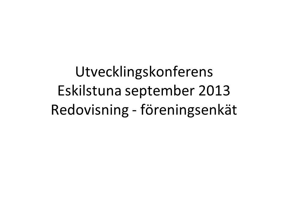 Utvecklingskonferens Eskilstuna september 2013 Redovisning - föreningsenkät