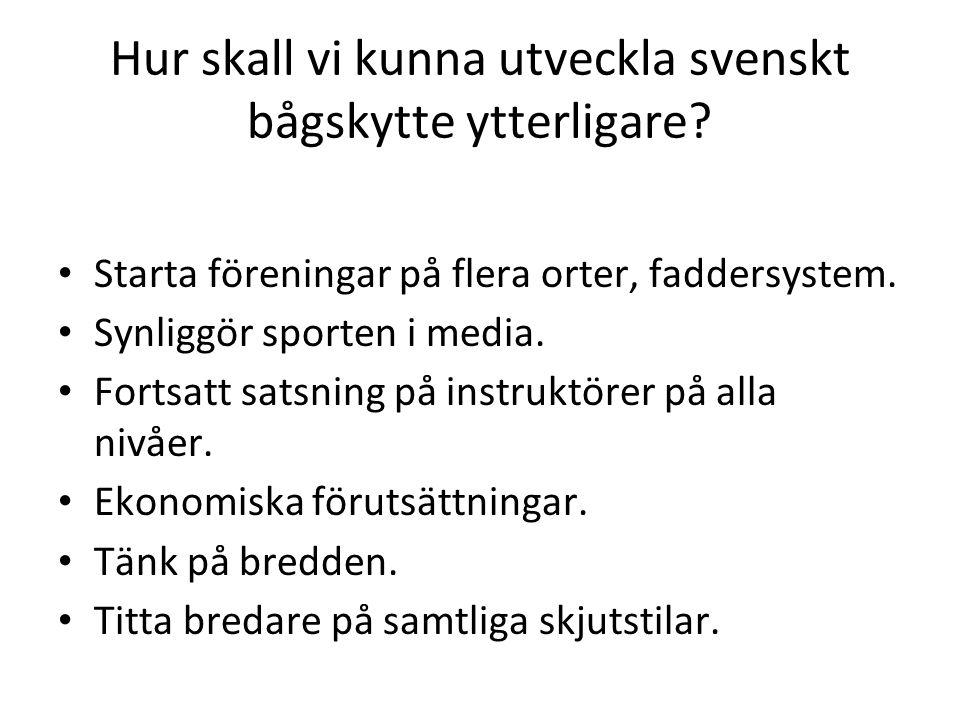 Hur skall vi kunna utveckla svenskt bågskytte ytterligare.