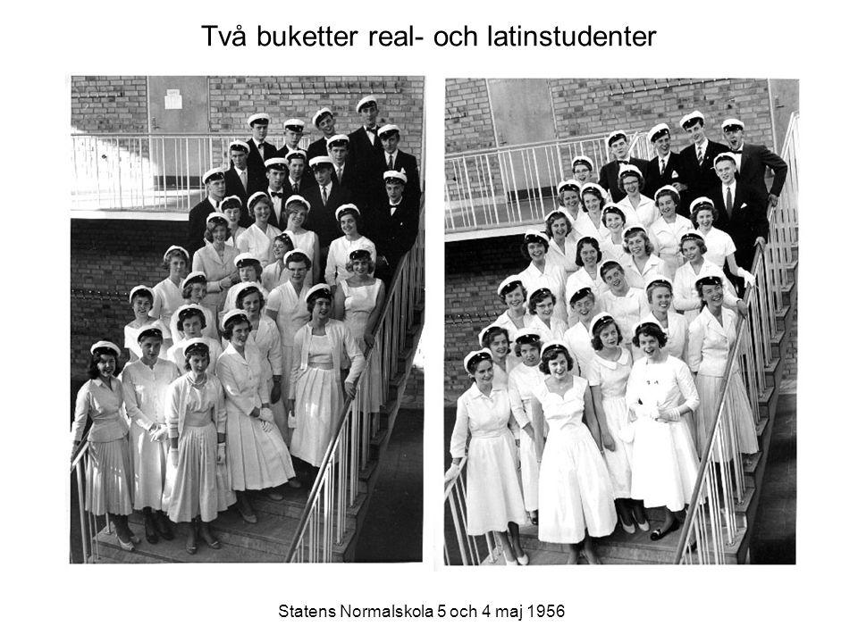 Två buketter real- och latinstudenter Statens Normalskola 5 och 4 maj 1956