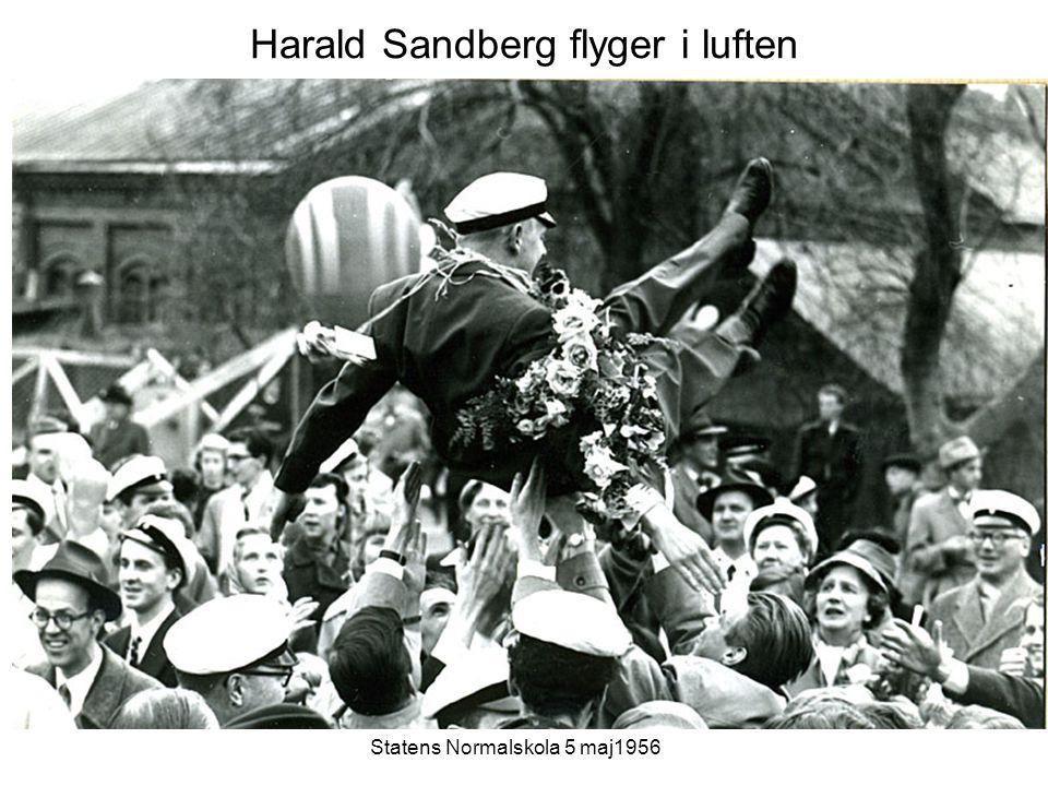 Harald Sandberg flyger i luften Statens Normalskola 5 maj1956