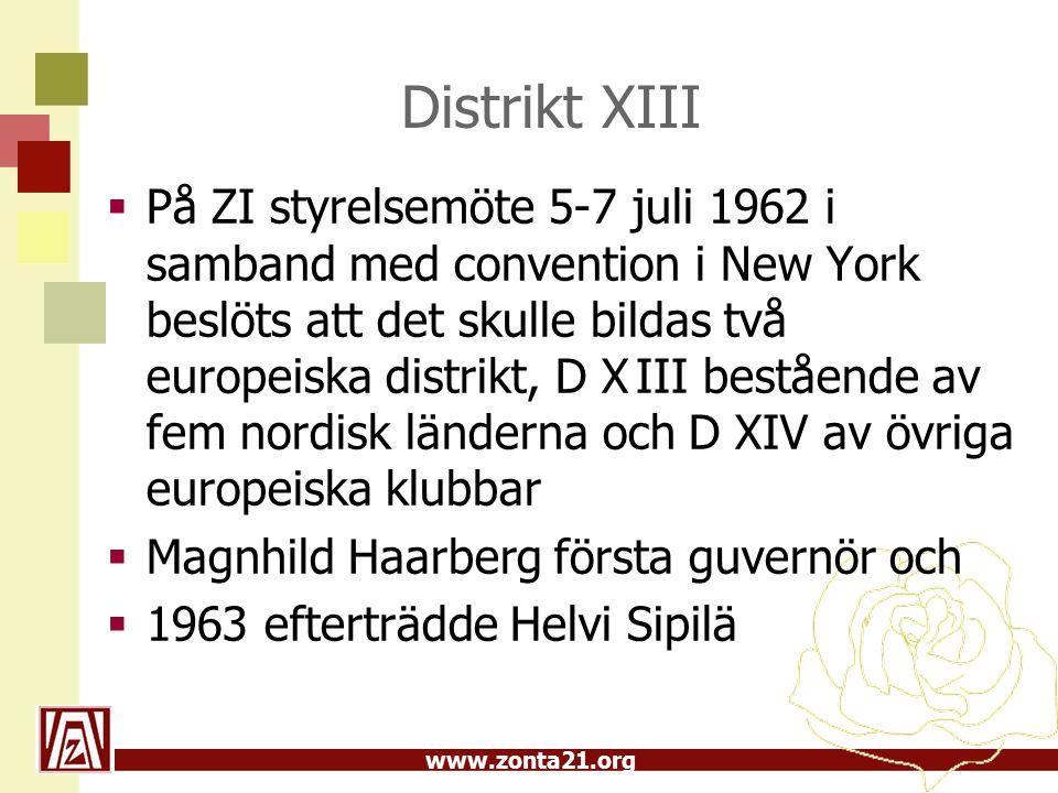 www.zonta21.org Distrikt XIII  På ZI styrelsemöte 5-7 juli 1962 i samband med convention i New York beslöts att det skulle bildas två europeiska distrikt, D XIII bestående av fem nordisk länderna och D XIV av övriga europeiska klubbar  Magnhild Haarberg första guvernör och  1963 efterträdde Helvi Sipilä
