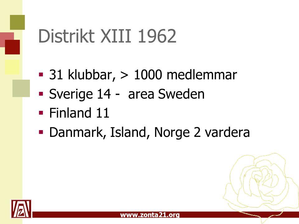 www.zonta21.org Distrikt 21 1986  1986 delades Norden upp och Distrikt 21 bildades  I Sverige fanns då 44 klubbar med 1840 medlemmar