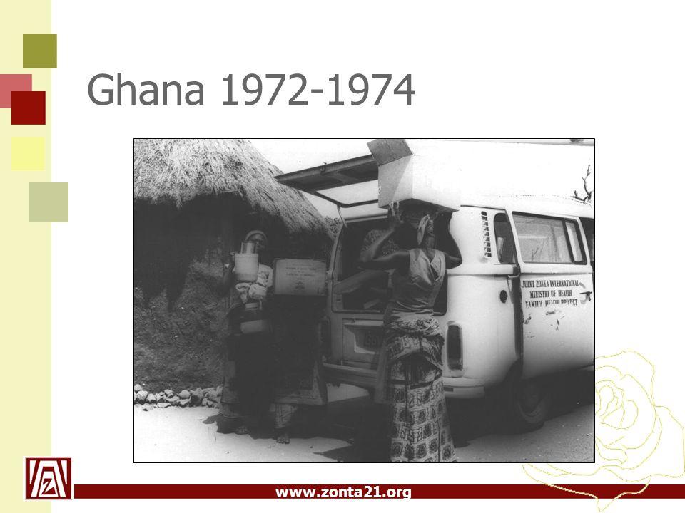 www.zonta21.org Serviceprojekt forts  1974-1976 Pan African Training Centre i samarbete med UNICEF  1976-1982 Health Centre Project,10st i samarbete med UNICEF  1982-1986 Sri Lanka Well Water Project i samarbete med UNICEF  1986 Blev zonta största NGO