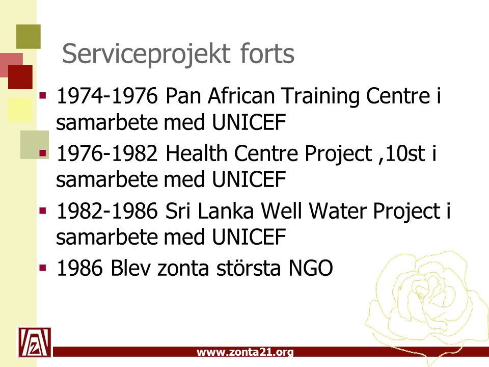 www.zonta21.org Serviceprojekt forts  1974-1976 Pan African Training Centre i samarbete med UNICEF  1976-1982 Health Centre Project,10st i samarbete med UNICEF  1982-1986 Sri Lanka Well Water Project i samarbete med UNICEF  1986 Blev zonta största NGO