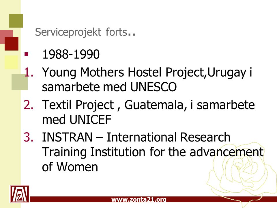 www.zonta21.org Serviceprojekt forts..  1988-1990 1.Young Mothers Hostel Project,Urugay i samarbete med UNESCO 2.Textil Project, Guatemala, i samarbe