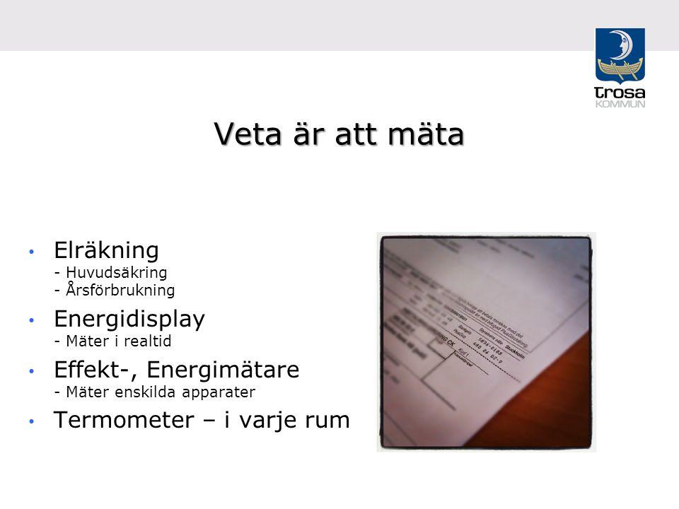 Veta är att mäta Elräkning - Huvudsäkring - Årsförbrukning Energidisplay - Mäter i realtid Effekt-, Energimätare - Mäter enskilda apparater Termometer