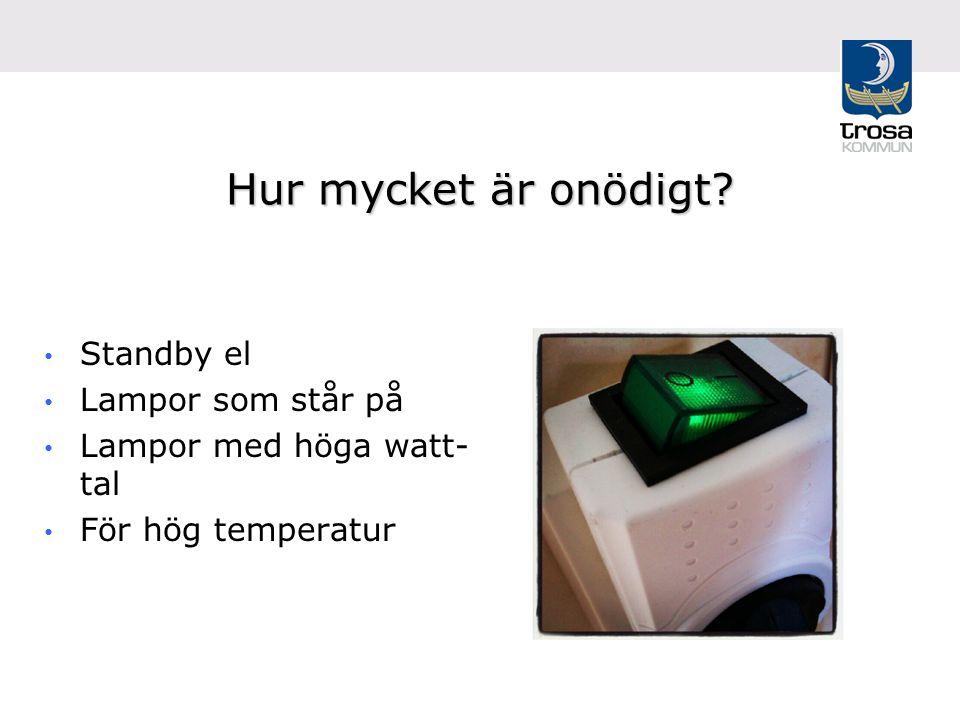 Hur mycket är onödigt? Standby el Lampor som står på Lampor med höga watt- tal För hög temperatur