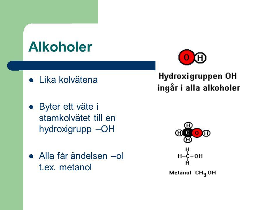 Alkoholer Lika kolvätena Byter ett väte i stamkolvätet till en hydroxigrupp –OH Alla får ändelsen –ol t.ex. metanol