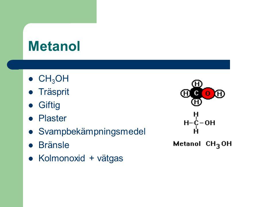 Metanol CH 3 OH Träsprit Giftig Plaster Svampbekämpningsmedel Bränsle Kolmonoxid + vätgas