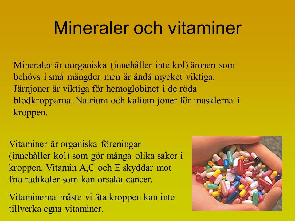 Mineraler och vitaminer Mineraler är oorganiska (innehåller inte kol) ämnen som behövs i små mängder men är ändå mycket viktiga. Järnjoner är viktiga