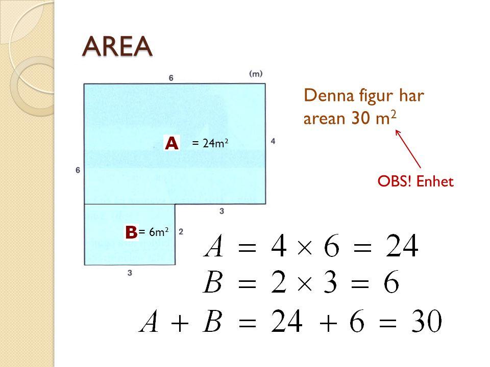 BERÄKNING AV AREA 3 AREA: 2 × 3 = 6 m 2